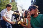 Макс с пивом (муж Hel), Dikon с гитарой и Maxster с сигаретой