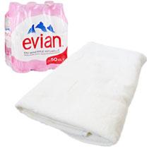 Полотенце и набор воды от Evian