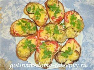 Горячие бутерброды с баклажанами, помидорами и сыром
