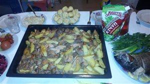 Картофель с мясом и грибами 'Большая компания'