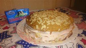 Блинный тортик с бананово-творожной начинкой