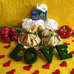 Блинные мешочки с ветчиной,сыром и яйцом'Любовь к мужу!