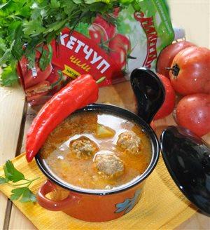 Суп 'А-ля харчо' с фрикадельками