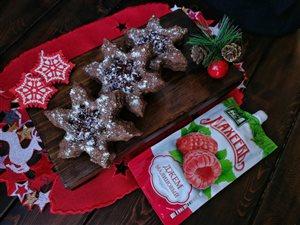 Шоколадно-творожные печеньки с малиновым джемом
