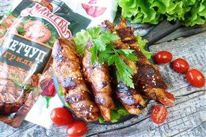Куриные брусочки-гриль обжаренные в беконе