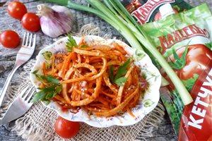 Кальмары в овощном маринаде
