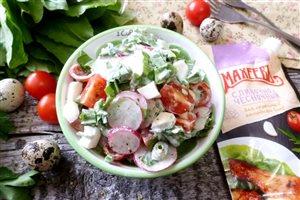 Овощной салат с редиской и щавелем