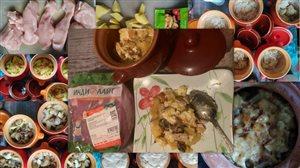 Филе грудки индейки с картофелем и грибами, запечённое в горшочках.