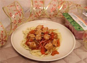 Спагетти с индейкой 'Индилайт' в соусе терияки