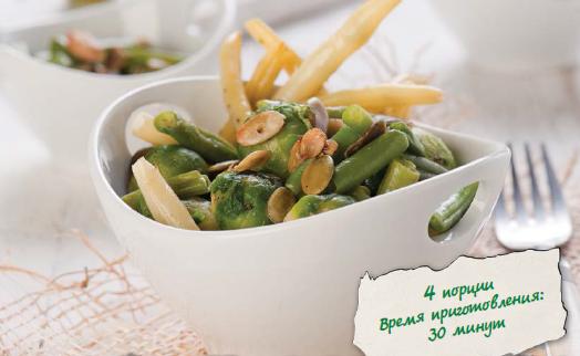 Теплый салат из брюссельской капусты и фасоли