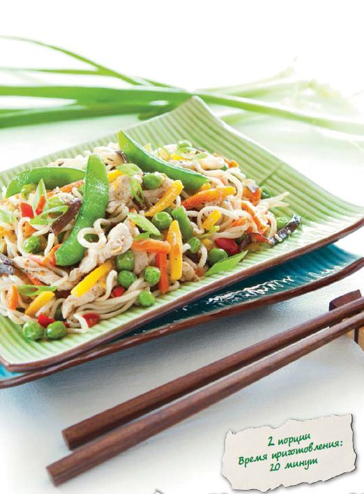 Овощи для жарки с рисовой лапшой по-восточному