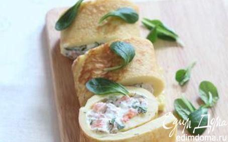 Рулет с лососем, творожным сыром и зеленью