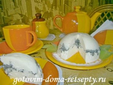 Творожный десерт с желатином и маком