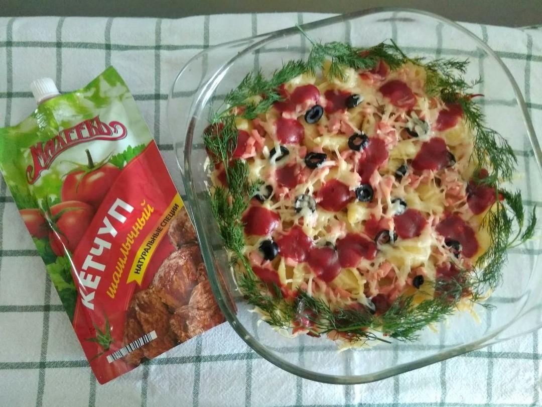 Ленивая пицца с макаронами