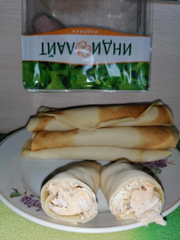 Жаренные блинчики с филе индейки
