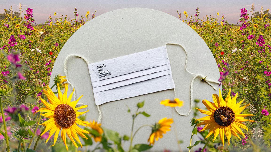 защитная маска из рисовой бумаги с семенами цветов