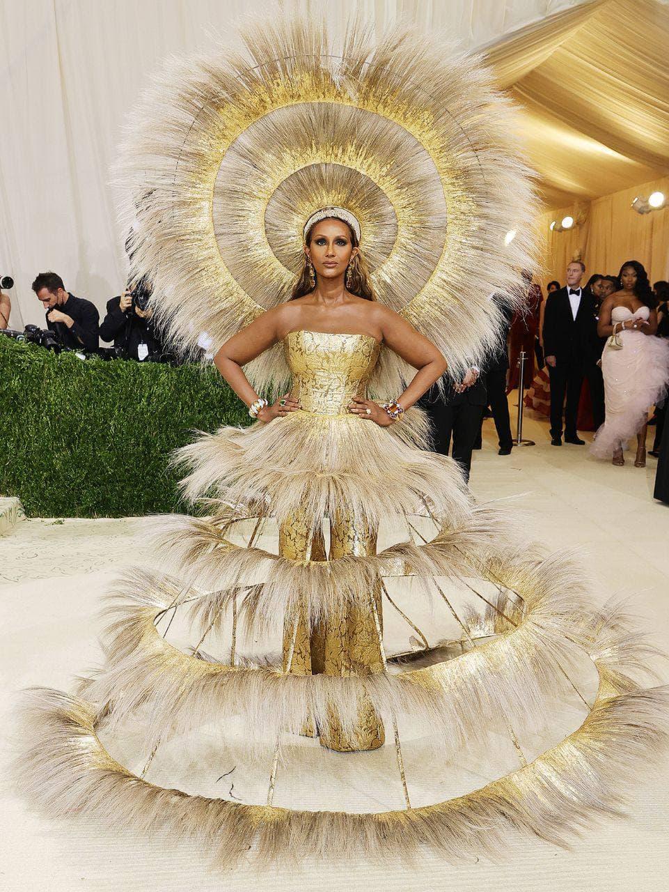 Иман золотое платье Мет Гала 2021
