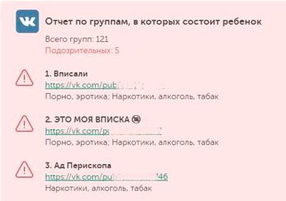 Мониторинг групп ребенка ВКонтакте