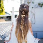 Прическа для девочки в школу: распущенные волосы и коса с 'фонариками'