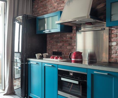 Интерьер кухни: из чего сделать пол на кухне, фартук и столешницу