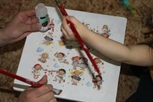 Декупаж детской табуреточки