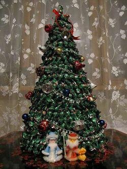 Большая елка из конфет своими руками
