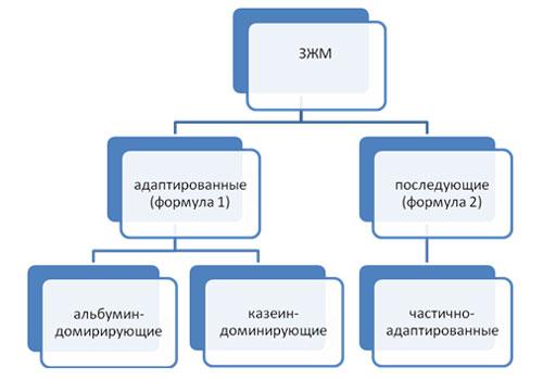 Классификация заменителей женского молока