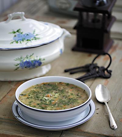 Суп из пшена с лесными грибами