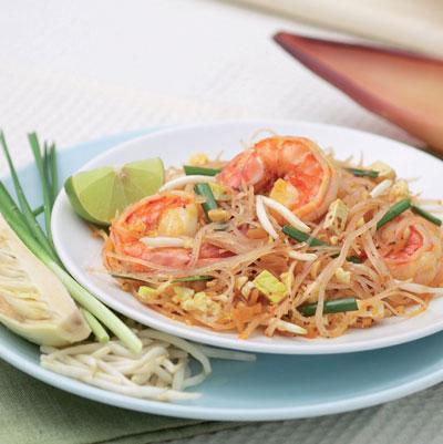 Тайская жареная лапша с креветками