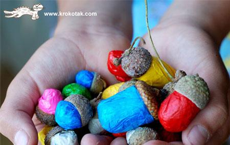 Поделки с ребенком своими руками: каштаны и яркие желуди