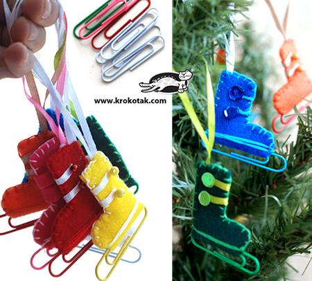 Новогодние игрушки своими руками: коньки из булавок