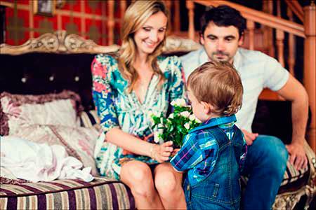 Ольга с мужем и сыном