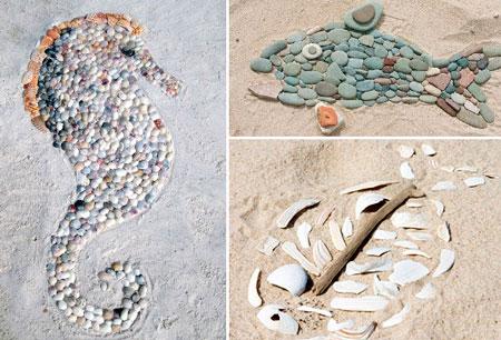 Поделки из песка и камешек