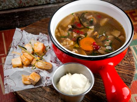 Охотничий грибной суп с уткой