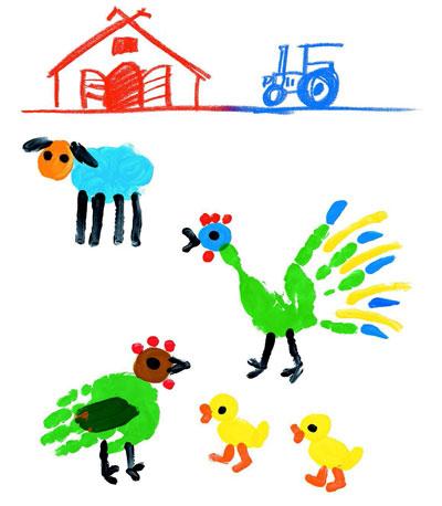 Простые детские рисунки красками