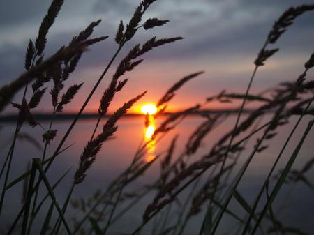 Закат на озере в Карелии