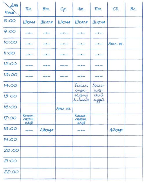 Как составить расписание на неделю