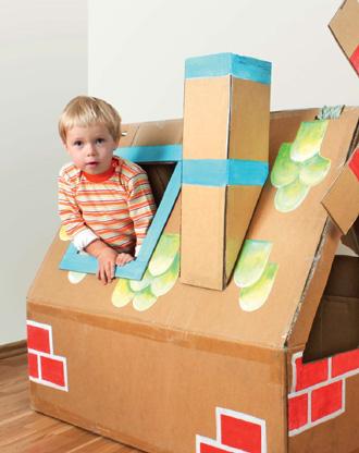 Как сделать детский домик из картонной коробки