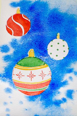 Рисуем акварелью новогоднюю открытку
