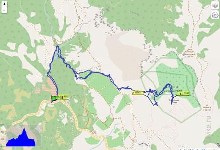 Это наш трек, который зафиксировал GPS - видите, какими непростыми дорожками мы петляли!