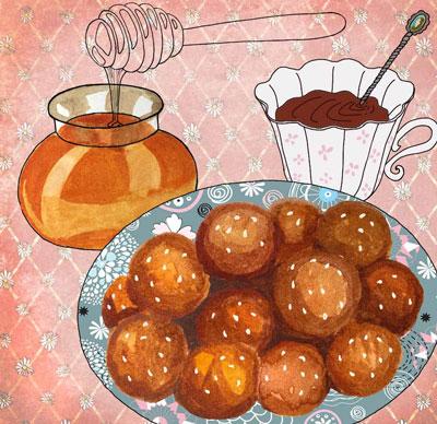 Пончики лукумадес в медовом сиропе