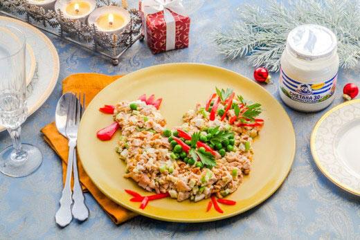 Фигурный салат со сметанной заправкой