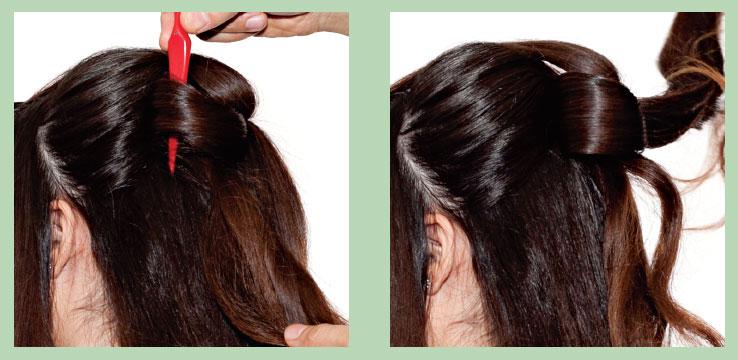 Уложить волосы ввиде банта