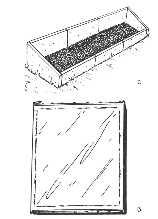 Односкатный парник избетонных сегментов