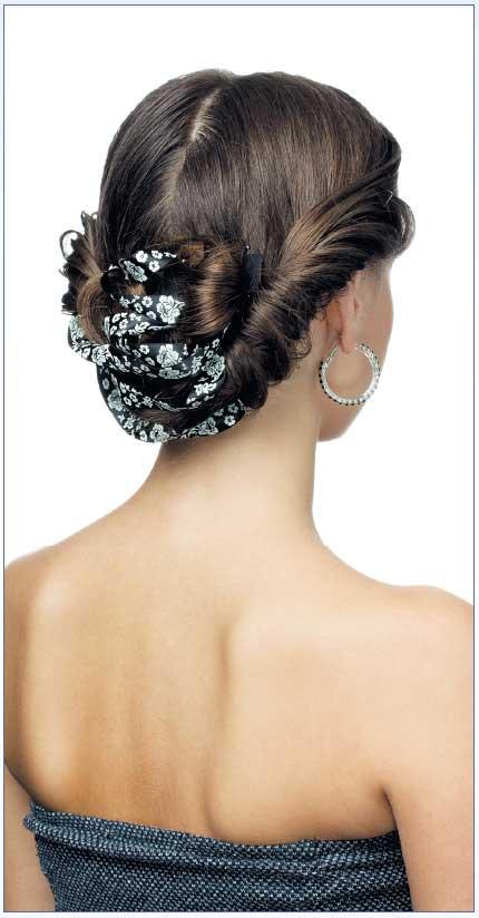 Прическа изжгутов слентой для длинных волос