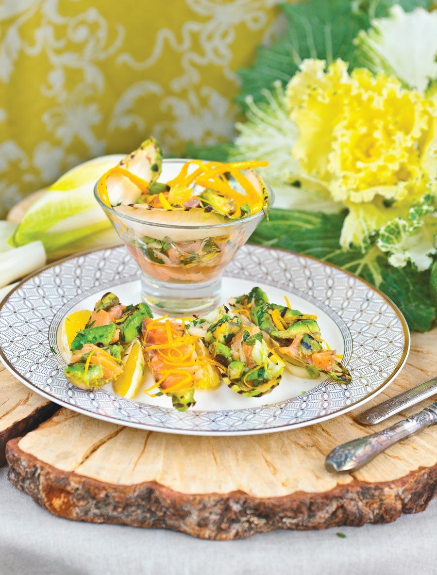 Салат савокадо, семгой иапельсином