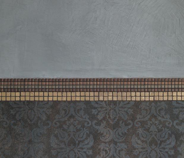 Составной бордюр изразных видов мозаики