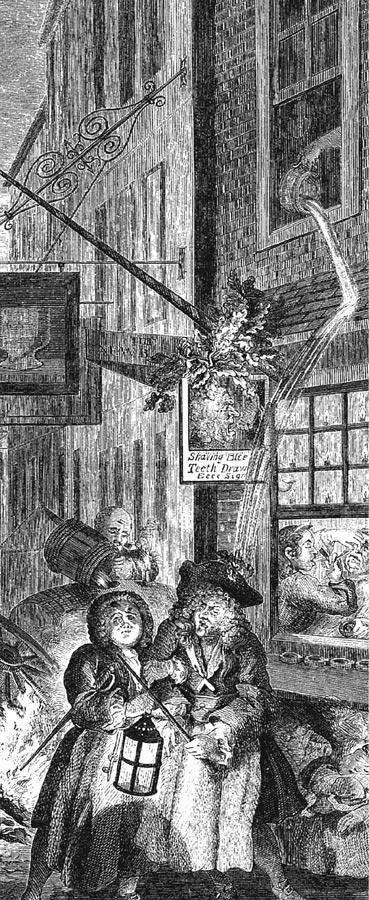 Содержимое ночного горшка выплеснули прямиком нашляпу прохожего. Рисунок Уильяма Хогарта. XVIIIв.