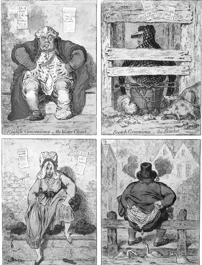 Английская карикатура XVIIIв. представляет различные виды общественных уборных