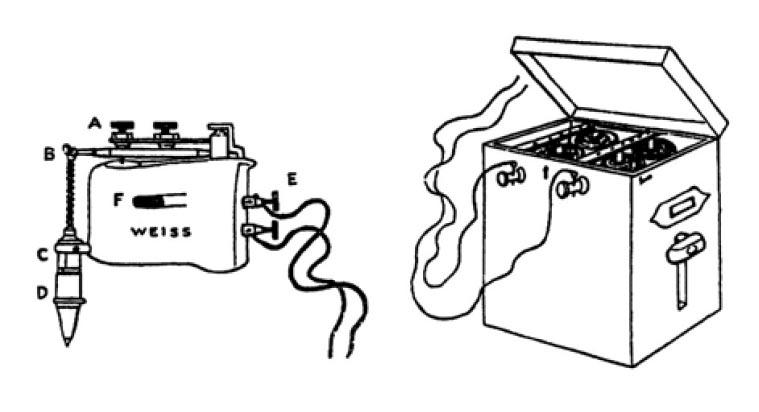 Вибратор Грэнвилла (слева) сэлементом питания (справа)